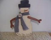 Primitive Wooden Snowman Hanger/Door Greeter Winter Decor