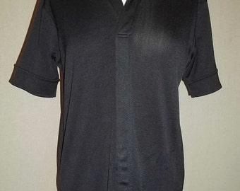 Vintage 70's Men Shirt Black Polyester Short Sleeve Cool Style Free Shipping