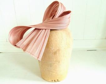 Light Pink Jinsin Fascinator Bow- Straw Fascinator- OOAK Headpiece- Races Headpiece