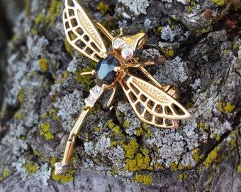 14k Gold Diamond Blue Sapphire Dragon Fly Pendant Brooch