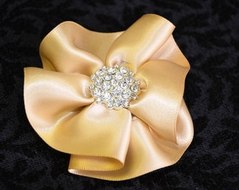 Satin flower bridal hair clip or brooch pin. Round flower hair clip with pearls or rhinestones. White or Ivory bridal head piece hair clip.