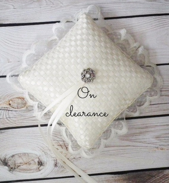 On clearance - ivory satin ribbon ring pillow, ivory wedding,  rhinestone accent, ivory satin ribbons, with ivory lace trim - ready to ship