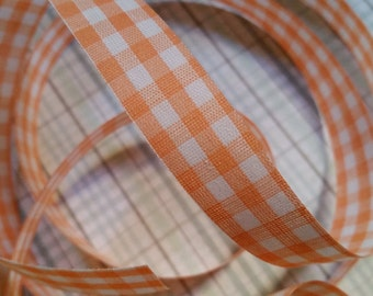 2 Yds Vintage Gingham Orange Trim Ribbon Yardage NOS | LAST ONE