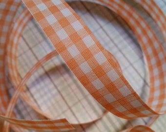 2 Yds Vintage Gingham Orange Trim Ribbon Yardage NOS