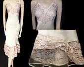 Vintage '40s  '50s Seamprufe Ivory Eggshell Satin Flared Net & Wide Lace Slip designer slip vintage slip wedding slip satin slip lace slip