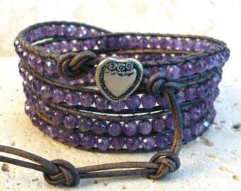 Natural Amethyst 4mm Faceted Gemstone Leather Wrap Bracelet