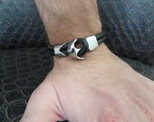 Men's Bracelet, Black Leather Crome Bracelet, Anchor Bracelet Men's Cuff Bracelet, Double Bracelet, Gifts for Her