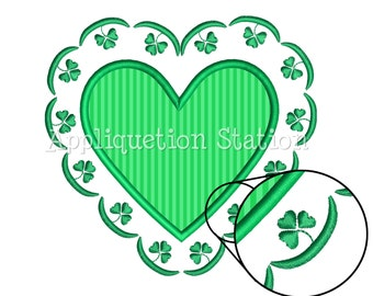 Shamrock Heart St. Patrick's Day Applique Machine Embroidery Design Pattern Irish Lacy Doiley Heart lucky 4 leaf clover INSTANT DOWNLOAD