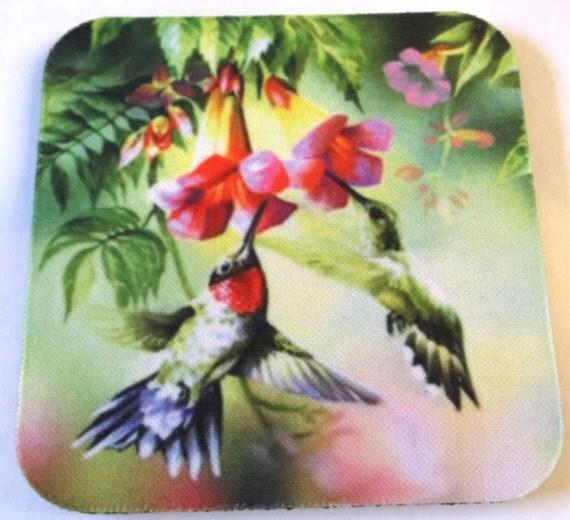 hummingbird coaster set of 4, bird coasters, rubber coaster, fabric coaster, coffee coasters, drink coasters, bar coasters, kitchen coasters