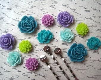 Flower Bobby Pin Kit, 24 pcs, Cabochon Flowers with Bobby Pin Blanks, Purple, Lime Green, Turquoise, Resin Roses, Dahlias, Sakura