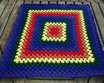 Baby/Child Blanket/Afghan Crocheted Rainbow {Red, Orange, Yellow, Green, Blue And Purple} 36 Inches Square Granny Square READY TO SHIP