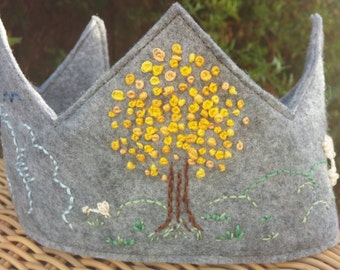Hand Embroidered Personalized Felt Birthday Crown