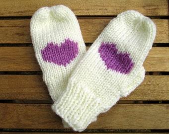 ecrue gloves heart gloves purple heart mittens knit mittens ecrue and purple christmas gift for her winter fashion