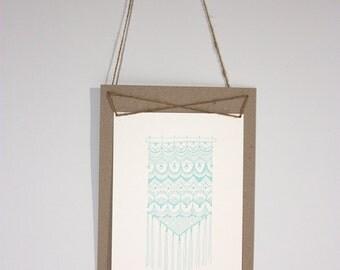 Ocean Breeze, letterpress print, macrame, turquoise, blue, calm, ocean