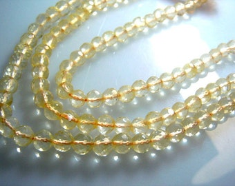 Citrin Quartz Gemstone Faceted RoundBeads -6x6MM Approx 8''  AAA High Quality Wholesale Price