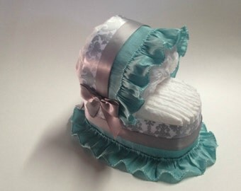 Silver Damask and Teal Baby Shower Diaper Bassinet
