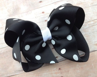 Black & white polka dot hair bow - black polka dot bow, 4 inch black bow