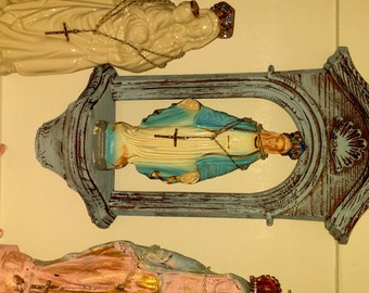 Mary Statue Chalkware Vintage Rosary Handemade Santos Jeweled Crown