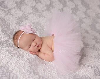Pink tutu set, light pink tutu set, pale pink tutu set, pink tutu with matching headband, newborn tutu set, baby tutu set, newborn photo