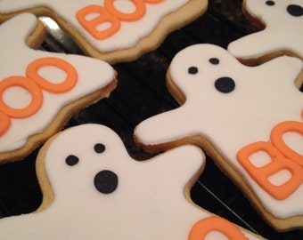 Ghost Cookies, Halloween Cookies, Party Favors, Trick or Treat, Halloween Treats, Halloween Sugar Cookies