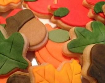Mini Thanksgiving Sugar Cookies, 2 dozen Mini Thanksgiving Cookies, Fall Cookies, Thanksgiving Cookies