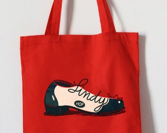 Red Hand printed Tote Bag. Cotton, ecofriendly. Lindy hop shoe.