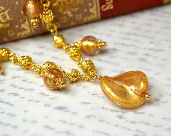Gold Murano glass necklace Venetian glass bead dangle necklace Italian bead drop necklace Renaissance  jewelry Murano jewelry