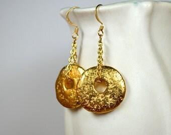 Big bold gold disk earrings Bohemian dangle earrings 24k gold plated Mykonos Greek bead earring Business casual jewelry