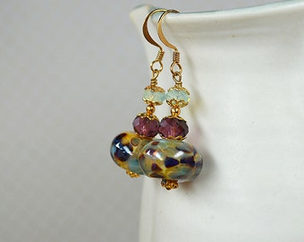Artisan made lampwork earrings Purple and moss green Swarovski crystal dangle earrings Beaded drop earrings Office jewelry