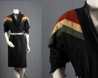 Vintage black dress 80s eighties striped shoulders tunic dress women size S small