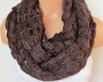 On Sale Brown Loop  Scarf, Neckwarmer Circle Scarf,Cowl, Winter Accessories, Fall Fashion,Holiday Accossories,Chunky Scarf.