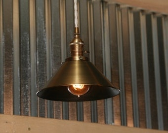 "Brass Pendant Light - 8"" Antiqued Brass Shade Hanging Pendant or Swag Light Lamp"