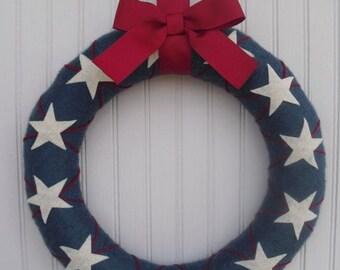 """Patriotic """"argyle"""" wreath"""