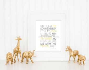 8 x 10 Nursery Print - Baby Art, Children Decor, Baby Shower Gift (Now I lay me)