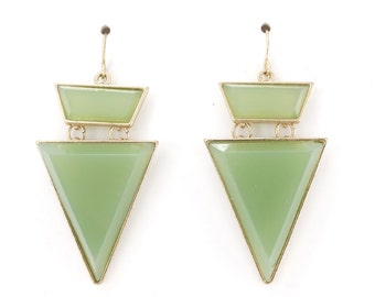 Special Gold tone Light Green Stone Triangle Dangle Earrings,L1