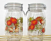 SALE!! Vintage 'Spice of Life' Hinged Jar Set, Glass Canisters, LARGE 2L Size, Storage Jars, Artichokes Peppers Mushrooms Tomatoes Onions