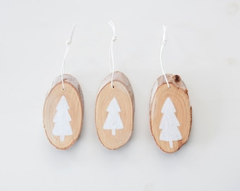 Tree slice ornaments Christmastree - set of three