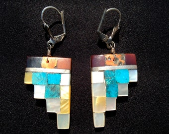 Native American  Inlaid Mosaic Earrings Santo Domingo Style