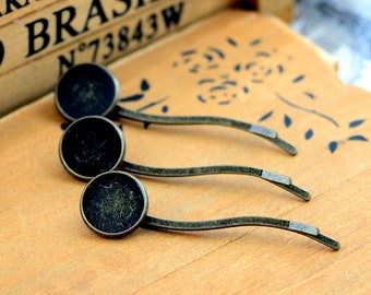 10pcs Antique Bronze Bobby Pin with 14mm Cameo Base