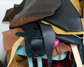 Leather Scraps, Large Leather Pieces, Leather De-Stash, USPS Priority Medium Box