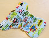 Newborn Fitted Cloth Diaper - Fits 6-12lbs, superhero