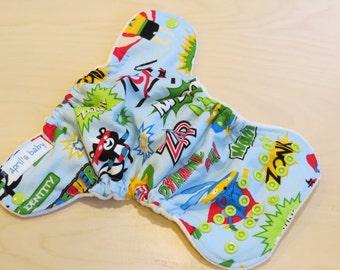 Newborn Fitted Cloth Diaper - Fits 6-12lbs, superhero