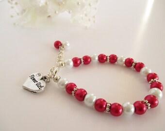 Red Flower Girl Bracelet, Pearl Flower Girl Bracelet, Children's Jewelry, Kid's Pearl Bracelet, Flower Girl Keepsake, Flower Girl Jewelry