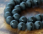 Matte Black Agate Beads with a Stripe, 10mm Round - 15.5 inch strand - eGR-AG00F-10