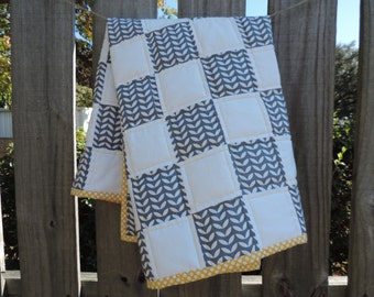 Gray, White, and Yellow Baby Quilt- Crib Quilt