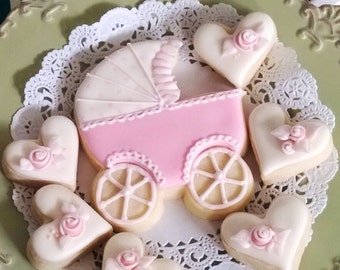 12 Baby Carriage Cookie Favors - Baby Shower Cookies, Welcome Baby, Baby Girl Shower, Tickled Pink Shower, party decoration