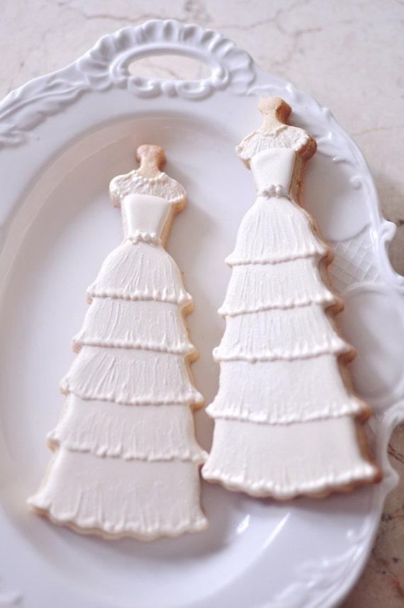10  Vintage Style Bridal Gown Cookies-1950's Elegant Layered Lace Wedding Dress Cookies,  Bridal Shower Cookies,