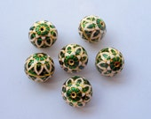 6 Meenakari, enamel work round beads, green, white and gold combo, Indian beads, cloissone, 16mm in size