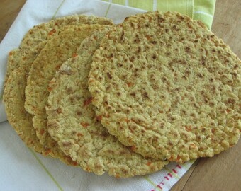 Grain Free Carrot Spice Tortillas –flat bread, wrap, low carb, paleo, gluten free, Indian food