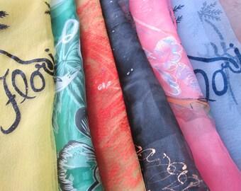 Lot 6 vintage souvenir SCARVES , Niagara Falls , FLORIDA , hair wrap, semi sheer scarves, lot headscarf, instant collection